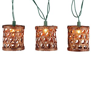 John Lewis Rattan Line Lights, Set of 15