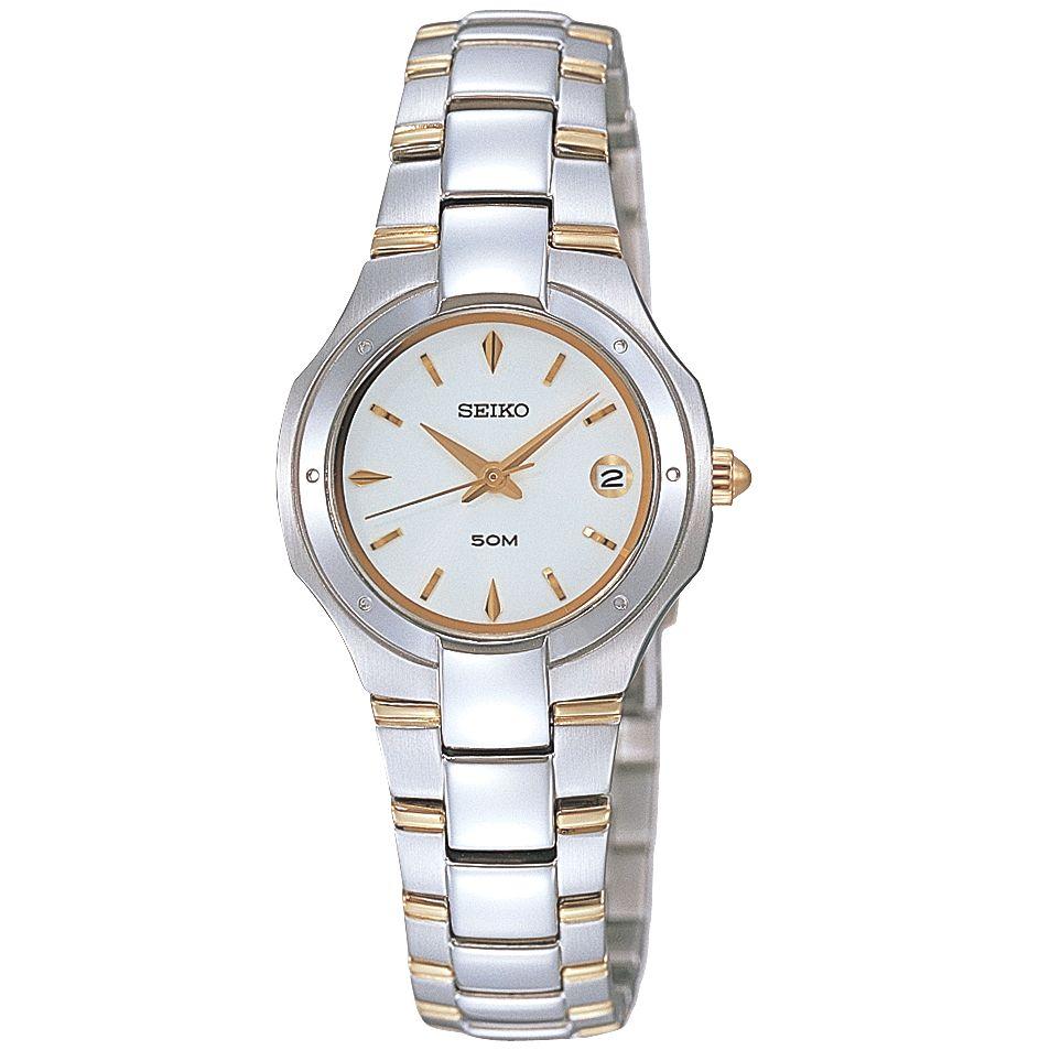 Seiko SXD781P1 Ladies Two Tone Bracelet Watch, Silver/Gold