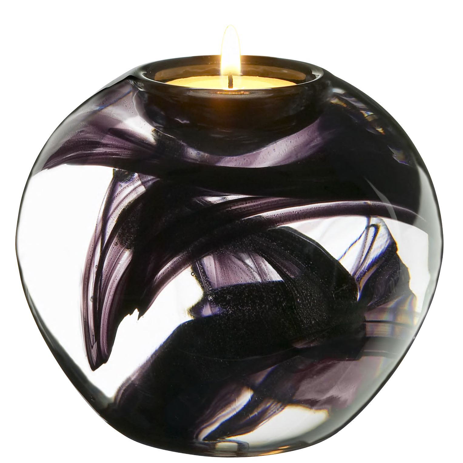 Kosta Boda Cool Moons Tealight Holder, Black, Large