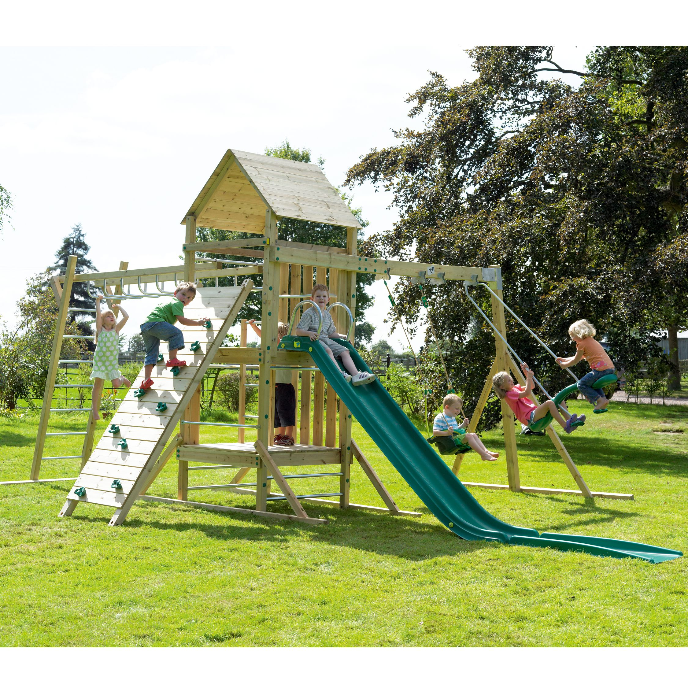 TP Kingswood Full Height Tower Swing Set with Climbing Bridge