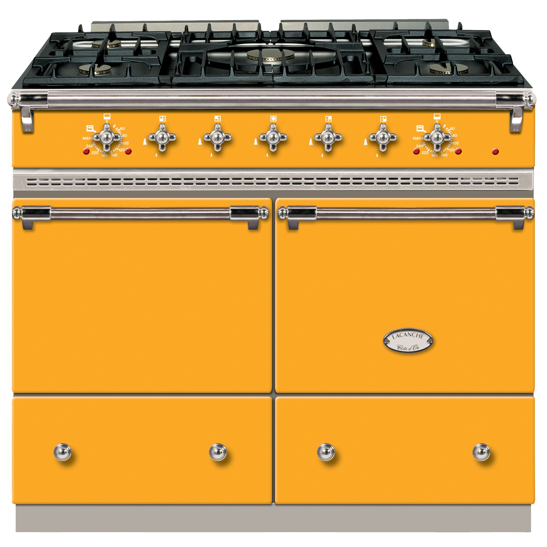 Lacanche Cluny LG1052GCT Dual Fuel Range Cooker, Provence Yellow / Chrome Trim at John Lewis