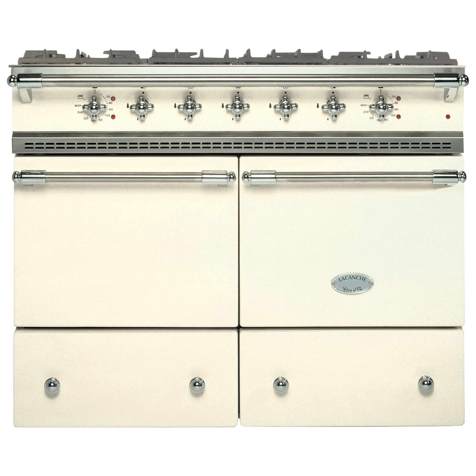 Lacanche Cluny LG1052GCT Dual Fuel Range Cooker, Ivory / Chrome Trim at John Lewis