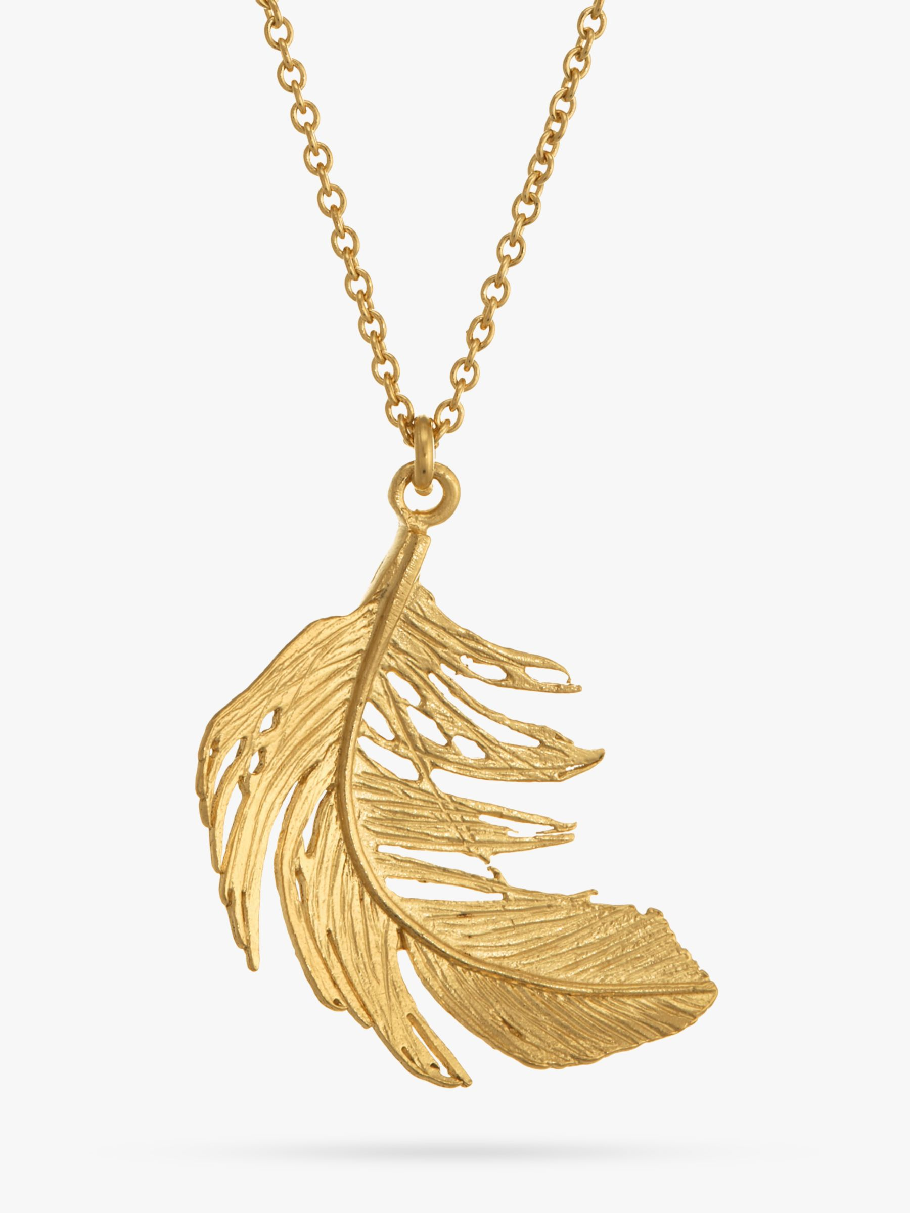 Alex Monroe Big Single Feather Necklace, Gold