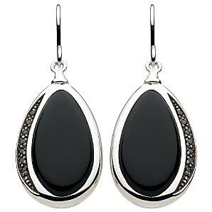 Kit Heath Large Pebble Ellipse Drop Earrings, Black/Silver