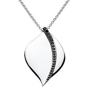 Kit Heath Black Cubic Zirconia Ray Pendant Necklace, Silver
