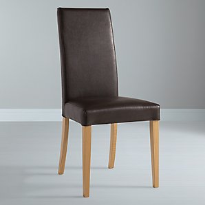 John Lewis Lydia Leatherette Dining Chair, Oak Stained