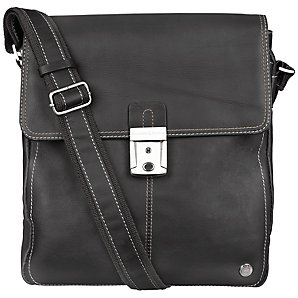 Bramble & Brown Sussex Leather Reporter Bag, Black