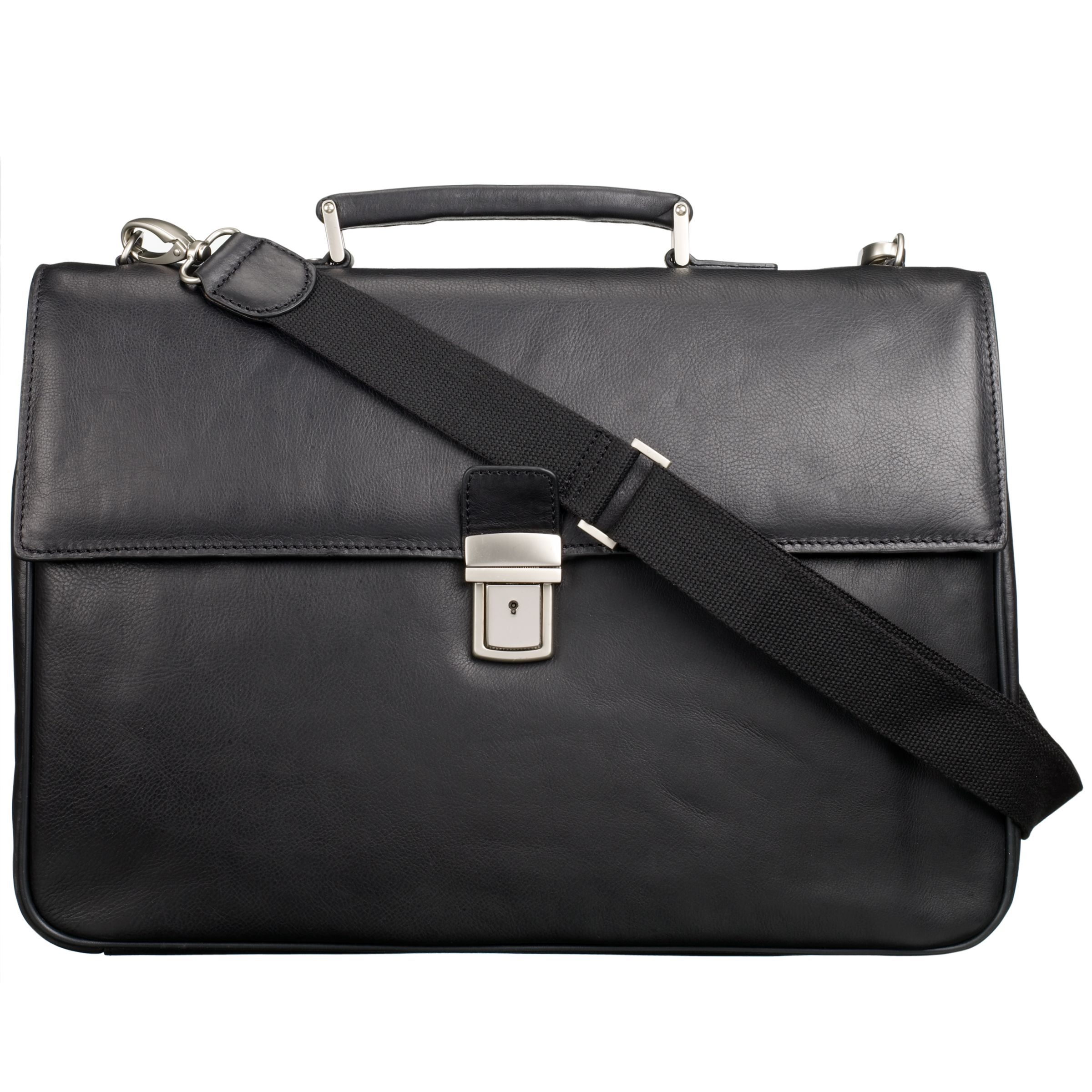 John Lewis China Cusco Leather Briefcase, Black