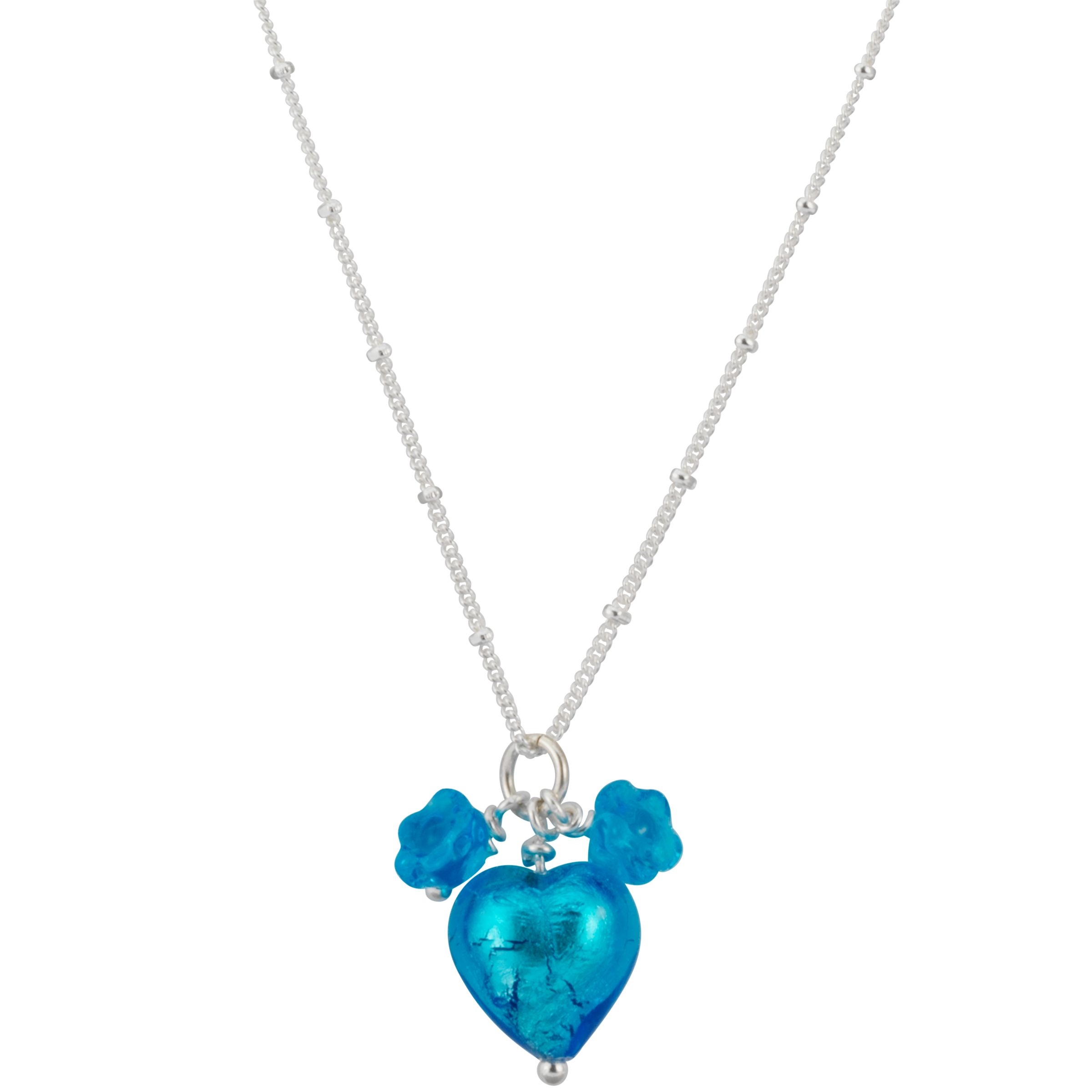 Martick Jewellery Murano Glass Heart Pendant Necklace, Turquoise
