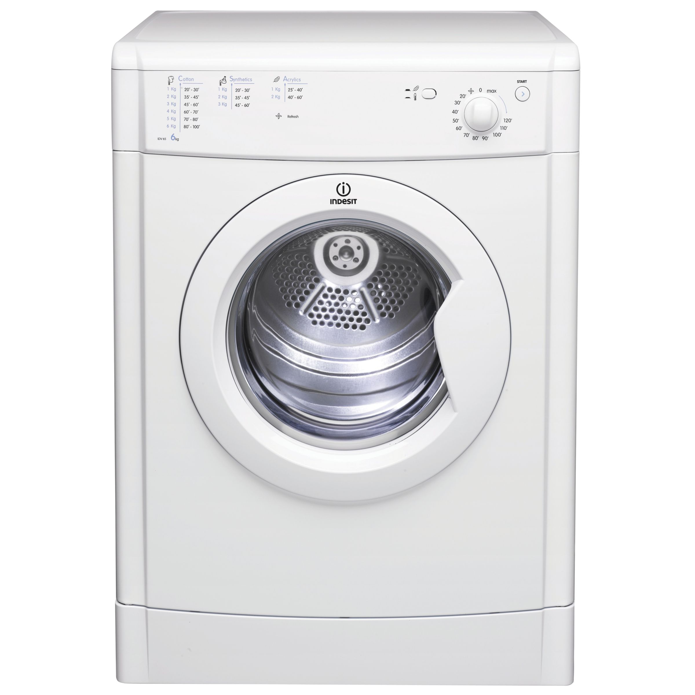 Indesit IDV65 Vented Tumble Dryer, White at John Lewis