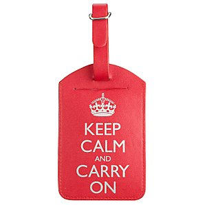 Keep Calm and Carry On Luggage Tag, Red