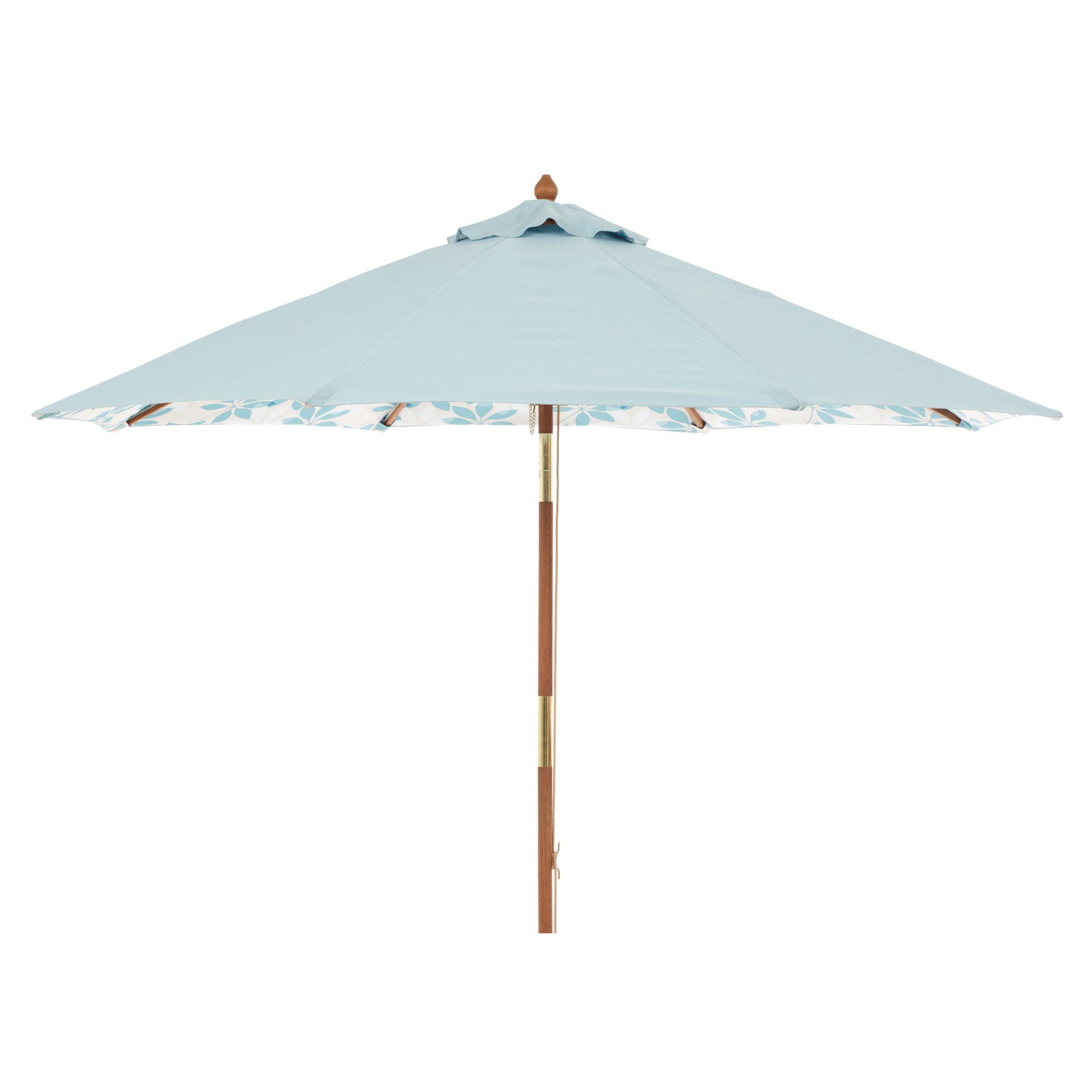 John Lewis Round Tilting Market Parasol, Pale Kingfisher/Forage Leaves, 2.75m