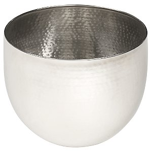 Hammered Metal Planter, Silver, Small