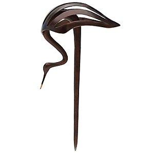 Heron Bending Outdoor Sculpture, Bronze Finish