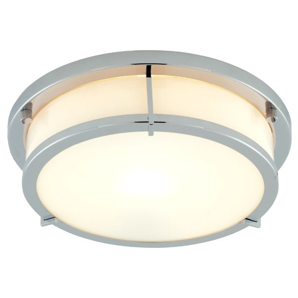 Ceiling light chrome flush fitting John lewis bathroom design and fitting
