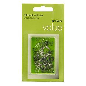 John Lewis Value Hooks and Eyes Set, Black/White