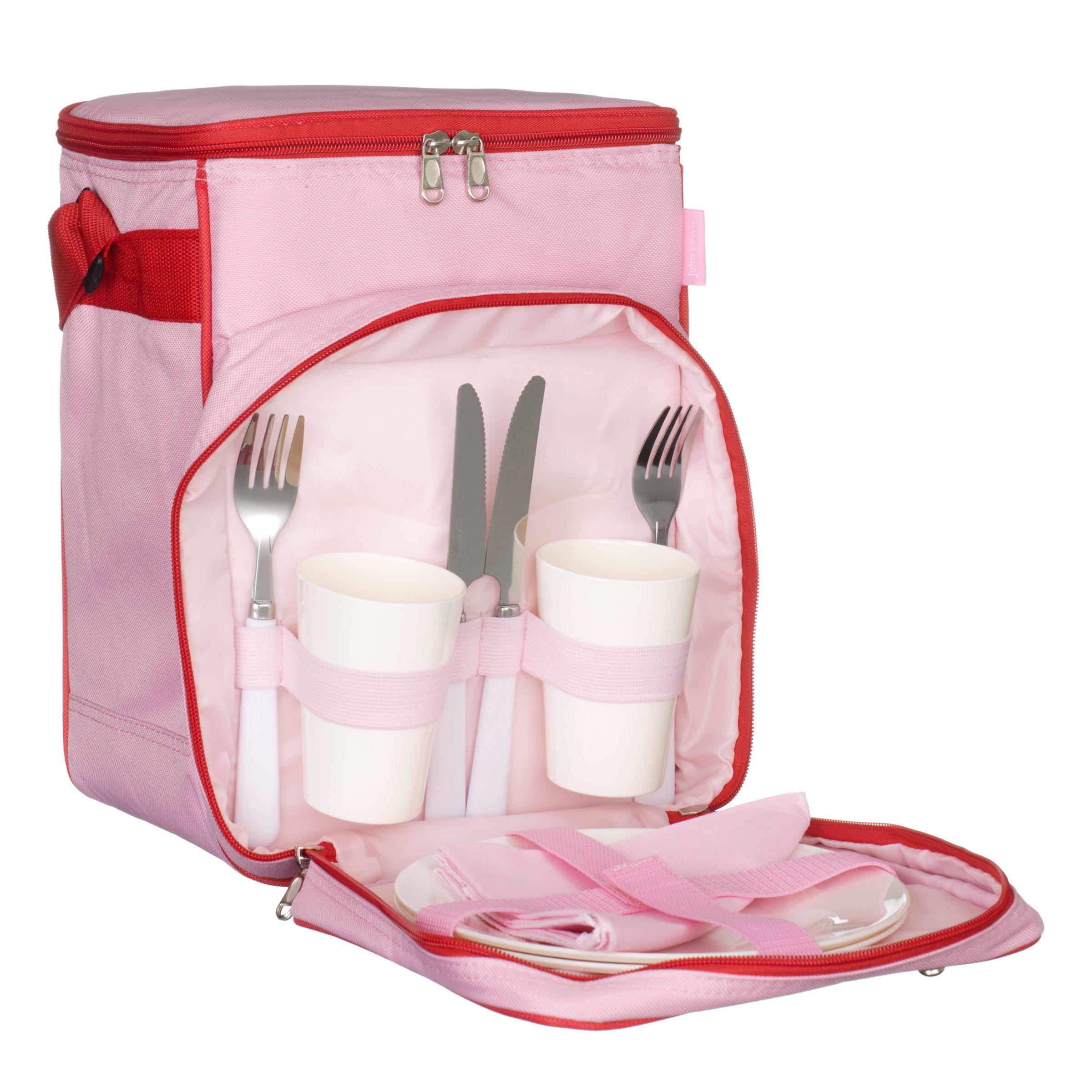 John Lewis 2 Person Picnic Cooler Bag Set, Red/ Pink