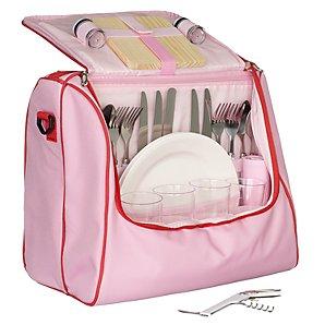 John Lewis 4 Person Picnic Cooler Bag Set, Red/ Pink