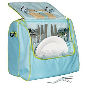 John Lewis 4 Person Picnic Cooler Bag Set, Blue/ Green