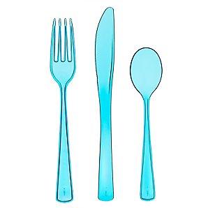 Mozaik Plastic Cutlery Set, Turquoise,18 Pieces