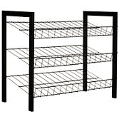 John Lewis 3 Tier Shoe Rack, Black