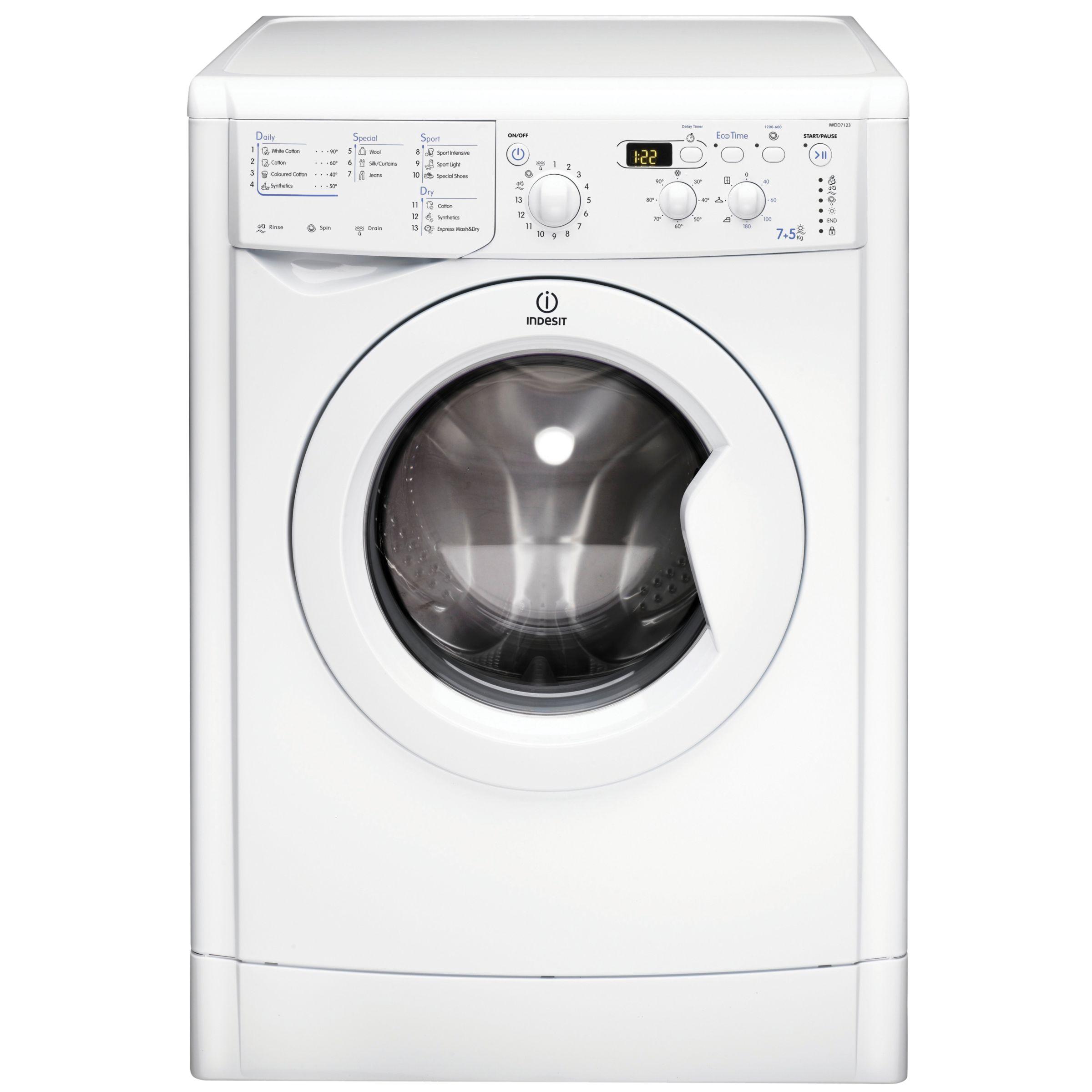 Indesit IWDD7123 Washer Dryer, White at John Lewis