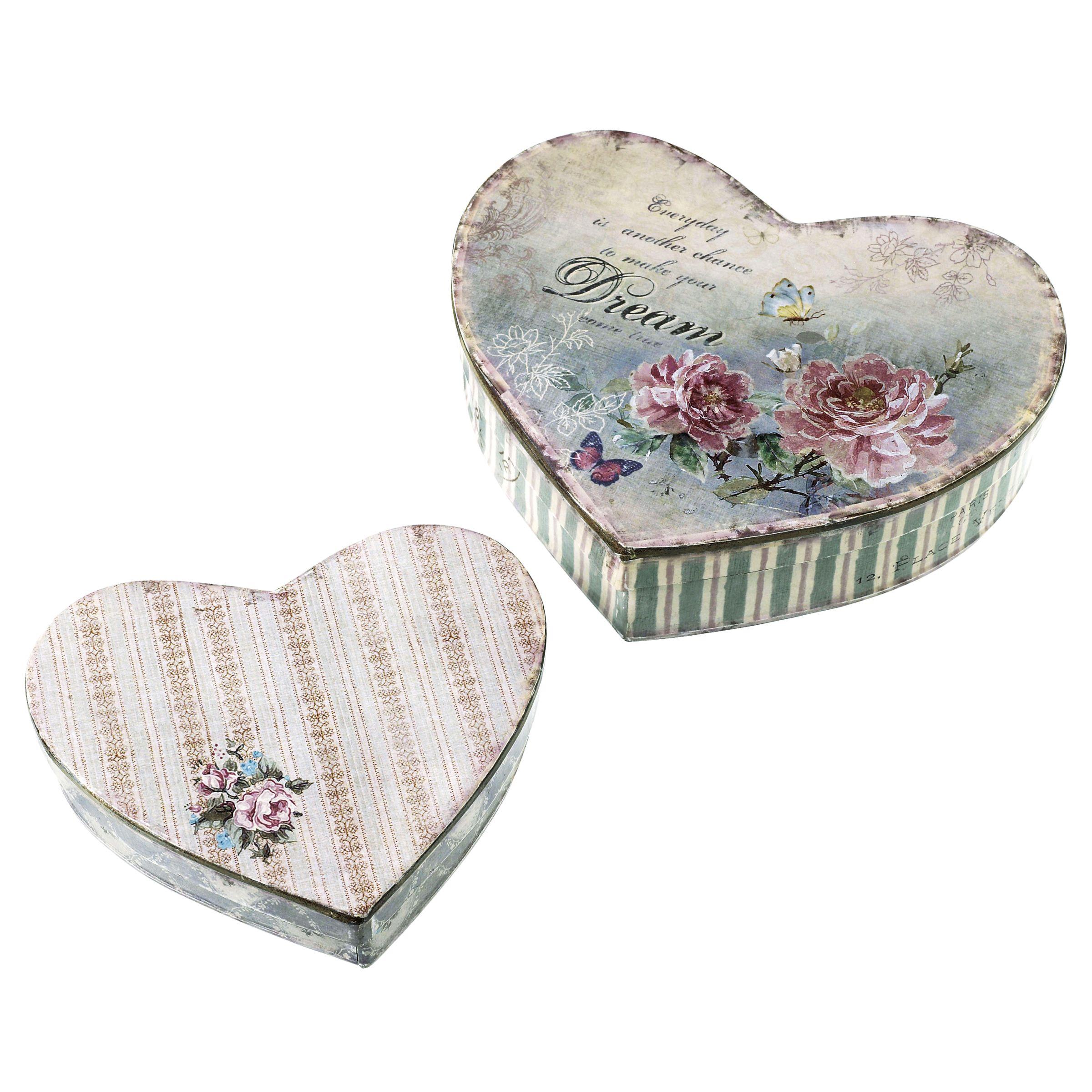 Parlane Flower Heart Tins, Set of 2
