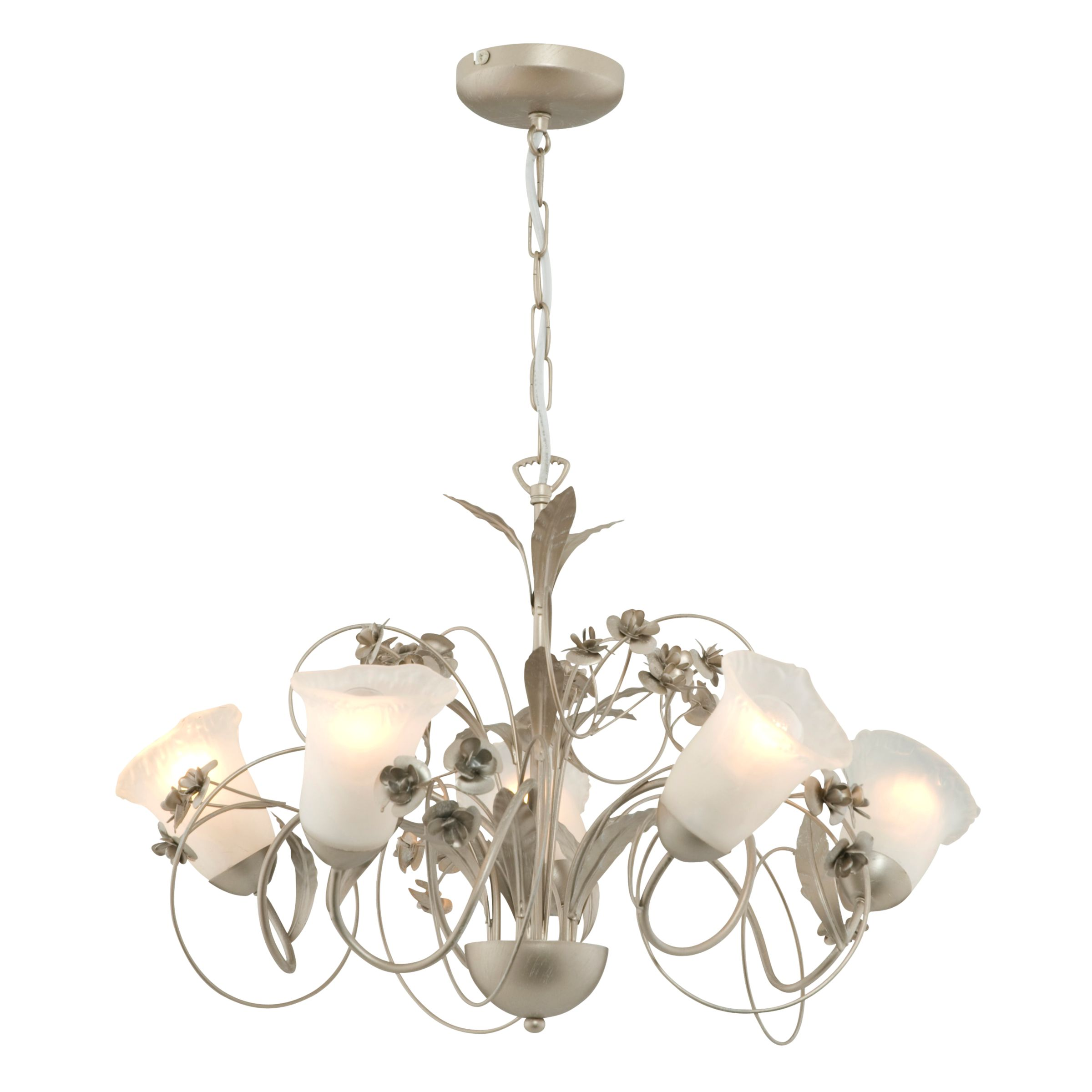 Ceiling Light 5 Arm Chrome : This arm ceiling light has a brushed chrome finish with