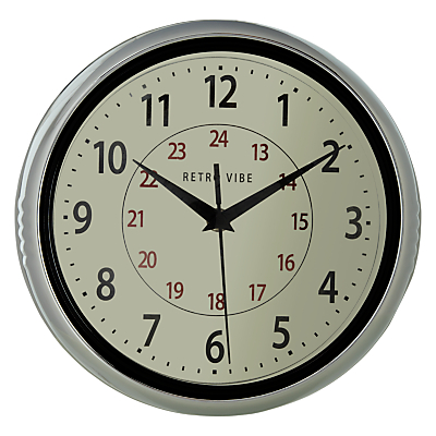 Buy John Lewis Chrome Wall Clock online at JohnLewis.com - John Lewis :  industrial chrome british modern