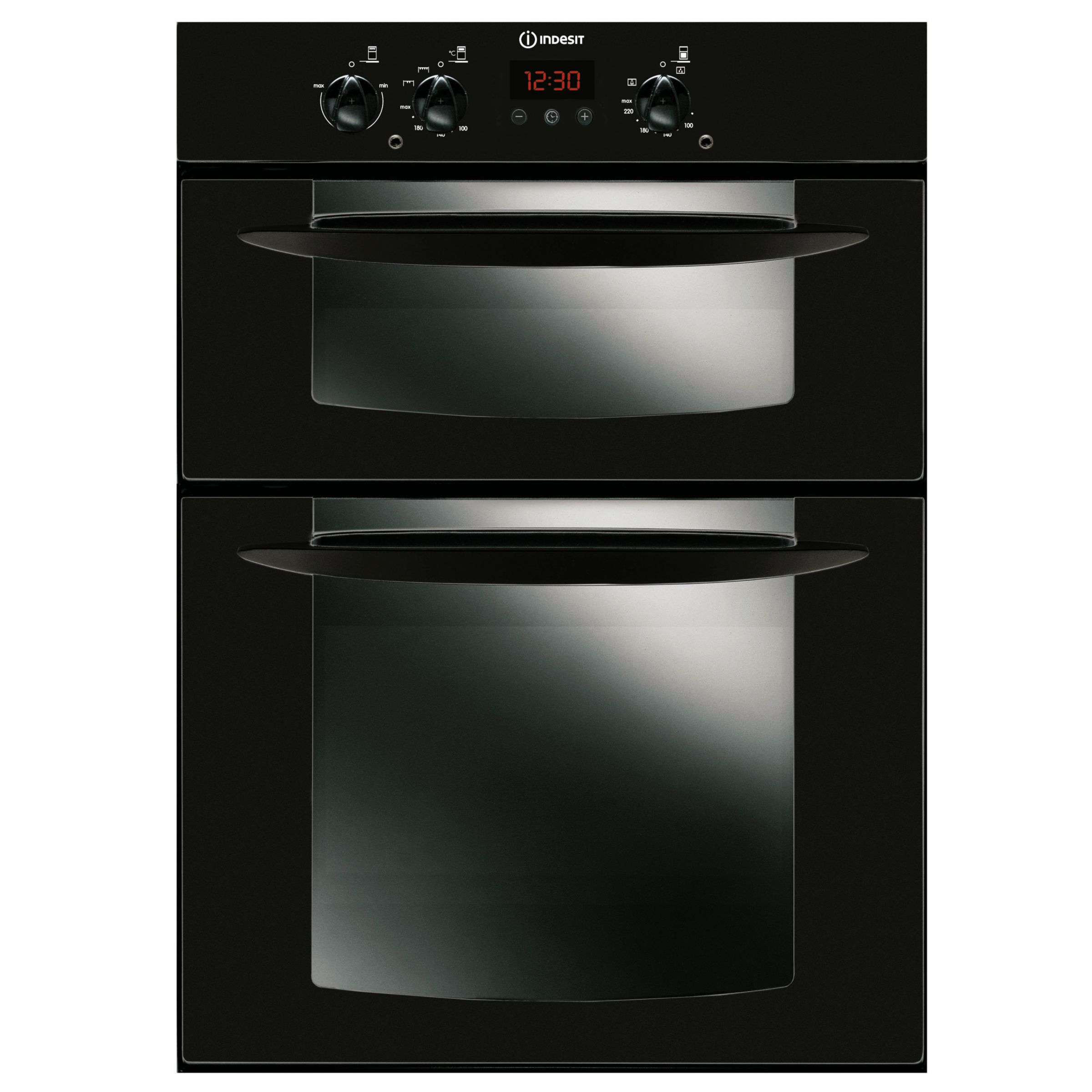 Indesit FID20BK Double Electric Oven, Black at JohnLewis