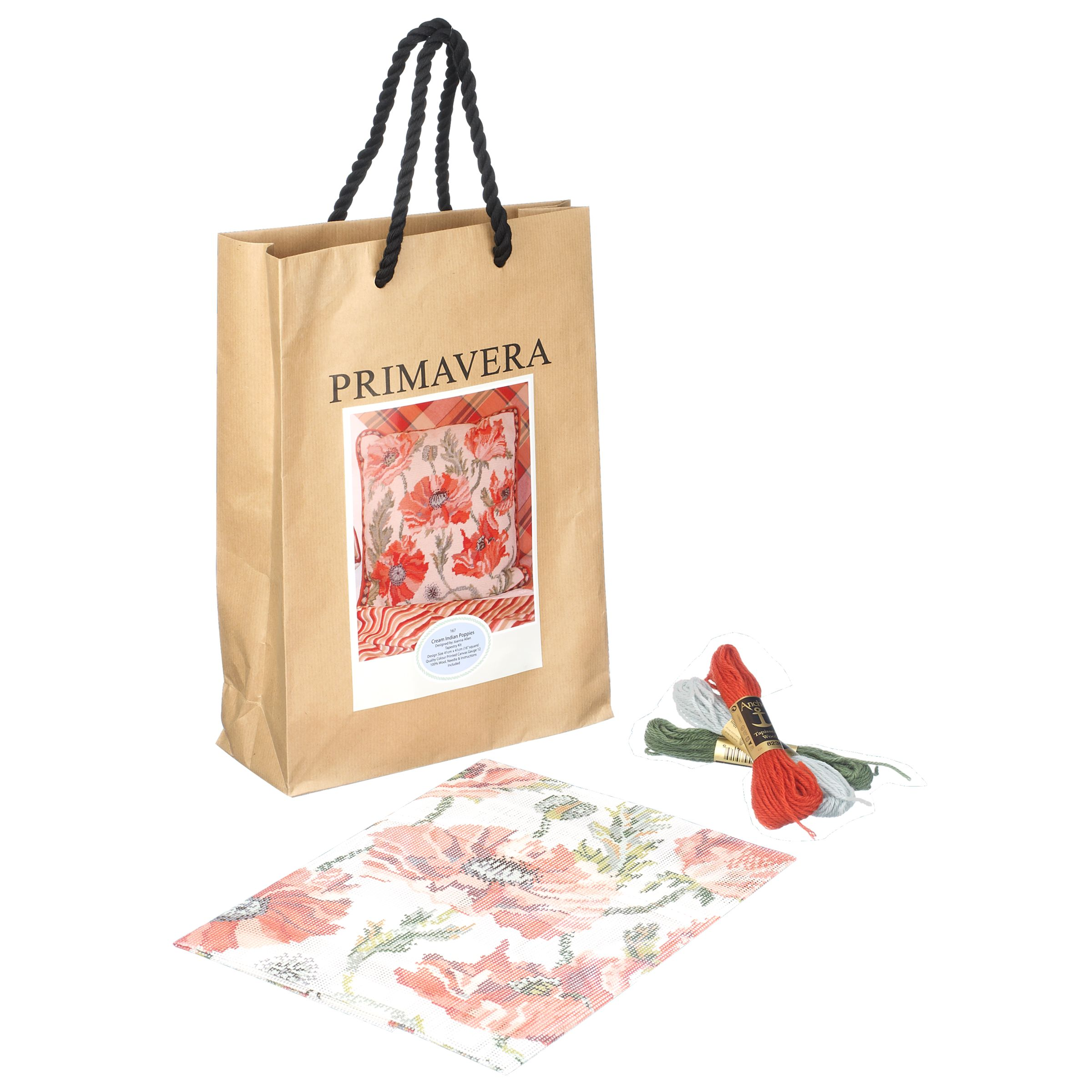 Primavera Cream Indian Poppies Cushion Tapestry Kit
