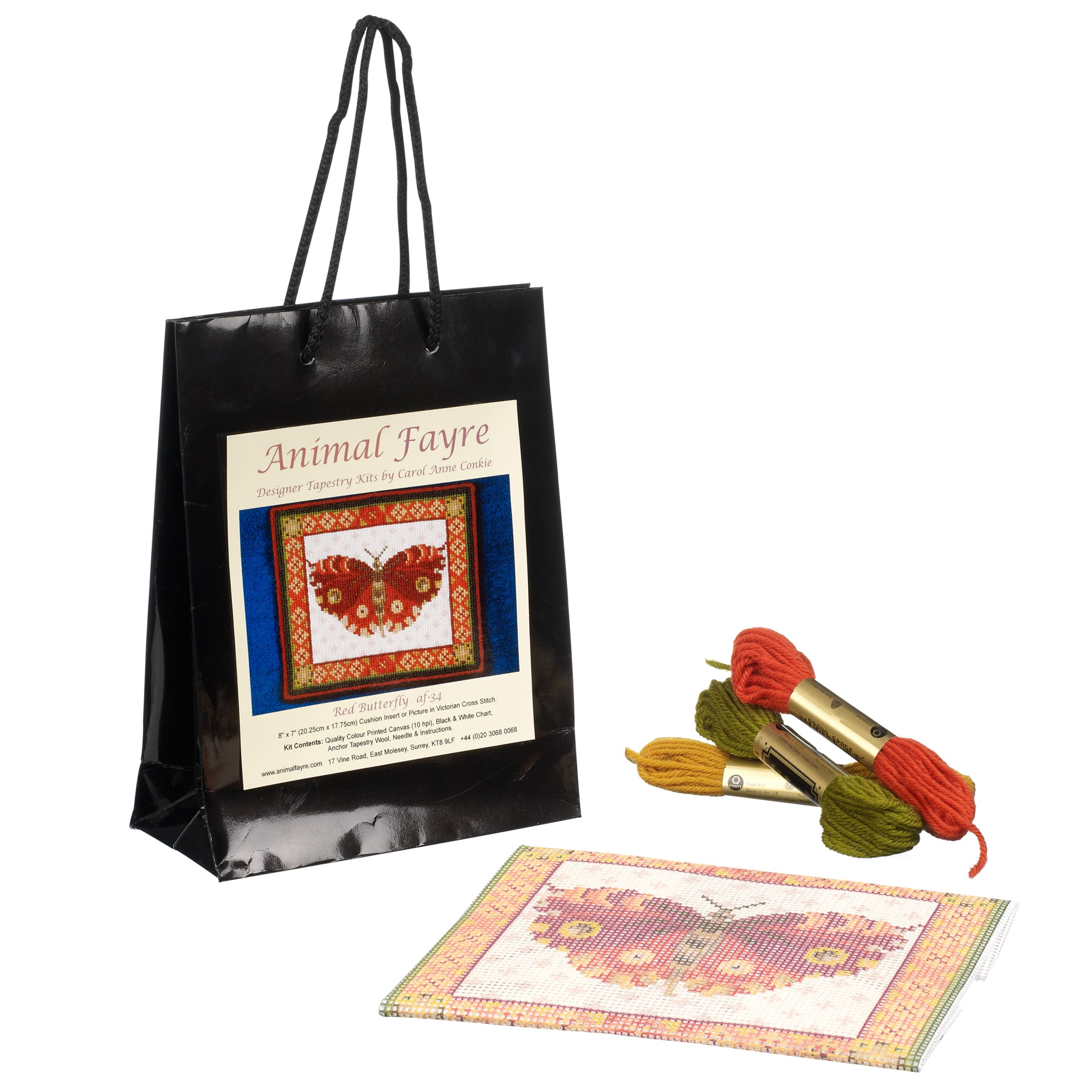 Animal Fayre Red Butterfly Tapestry Kit