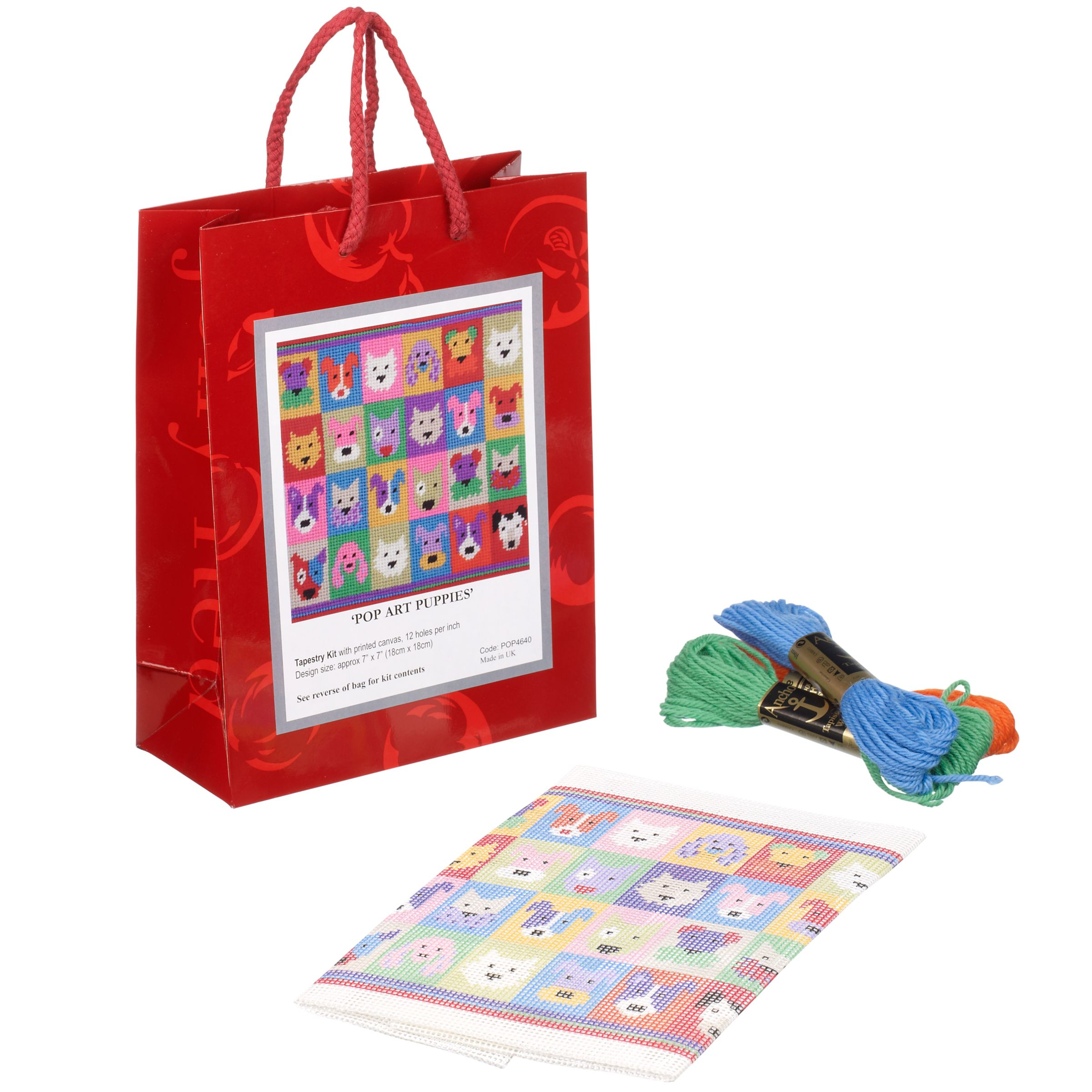 Jolly Red Pop Art Puppies Tapestry Kit