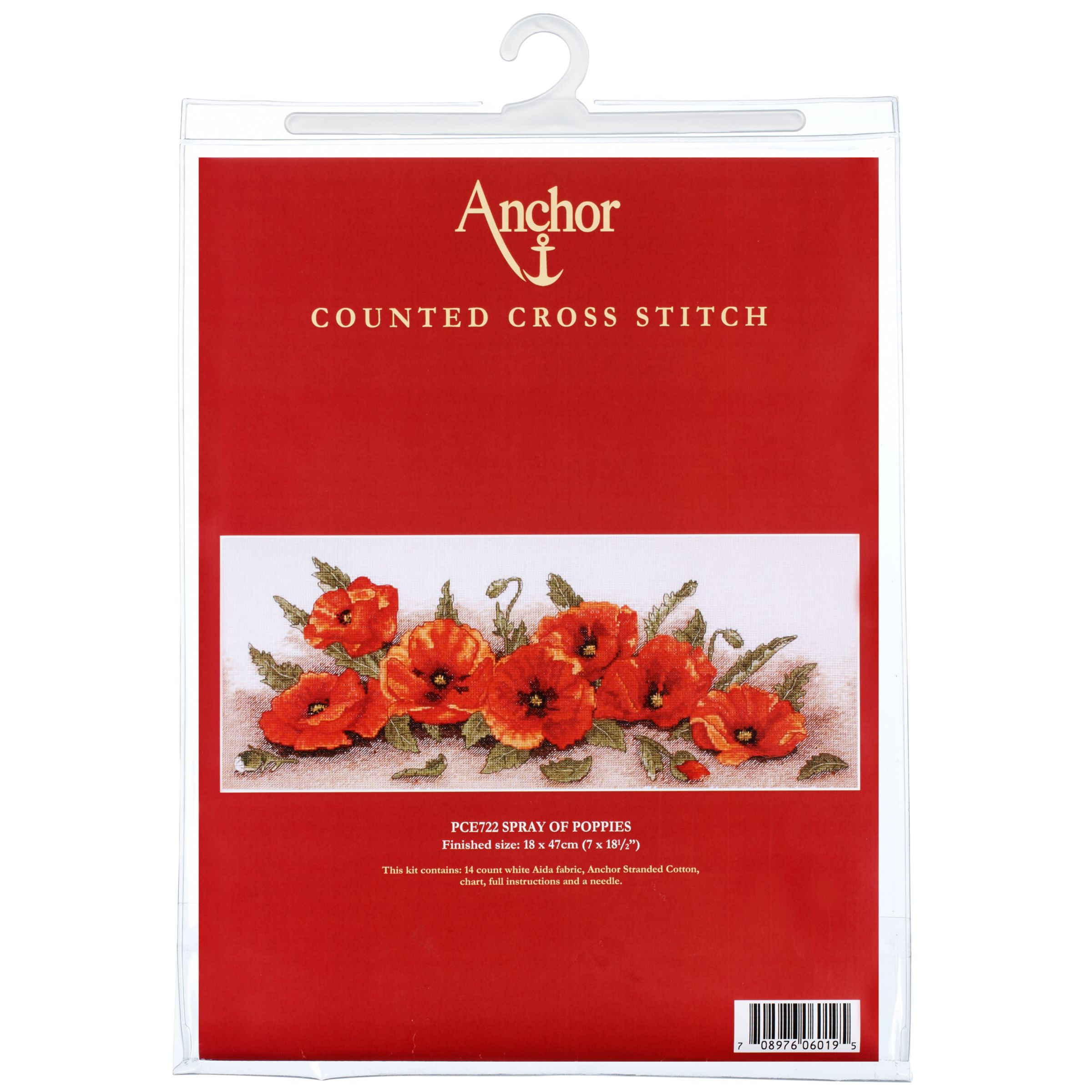 Anchor Spray of Poppies Cross Stitch Kit