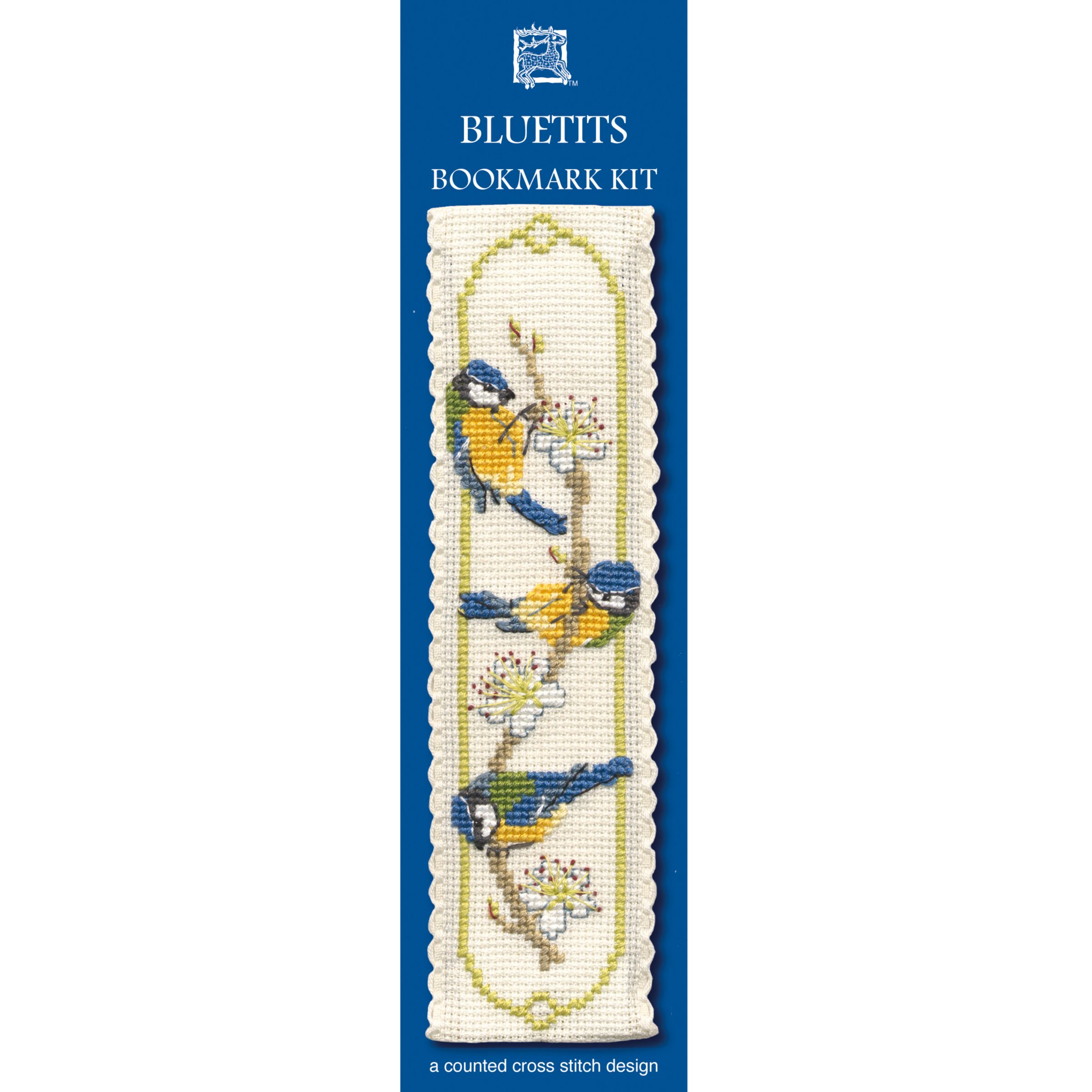 Textile Heritage Blue Tits Bookmark Cross Stitch Kit