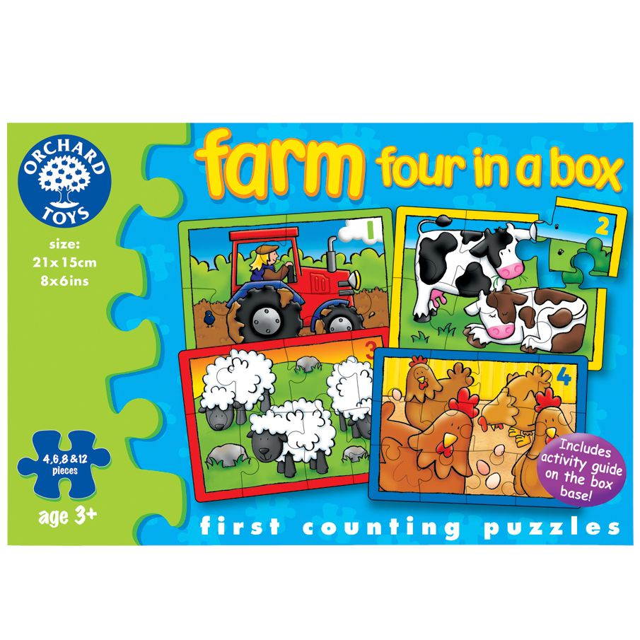 Orchard Toys Four in a Box Farm Puzzles, 12 Pieces