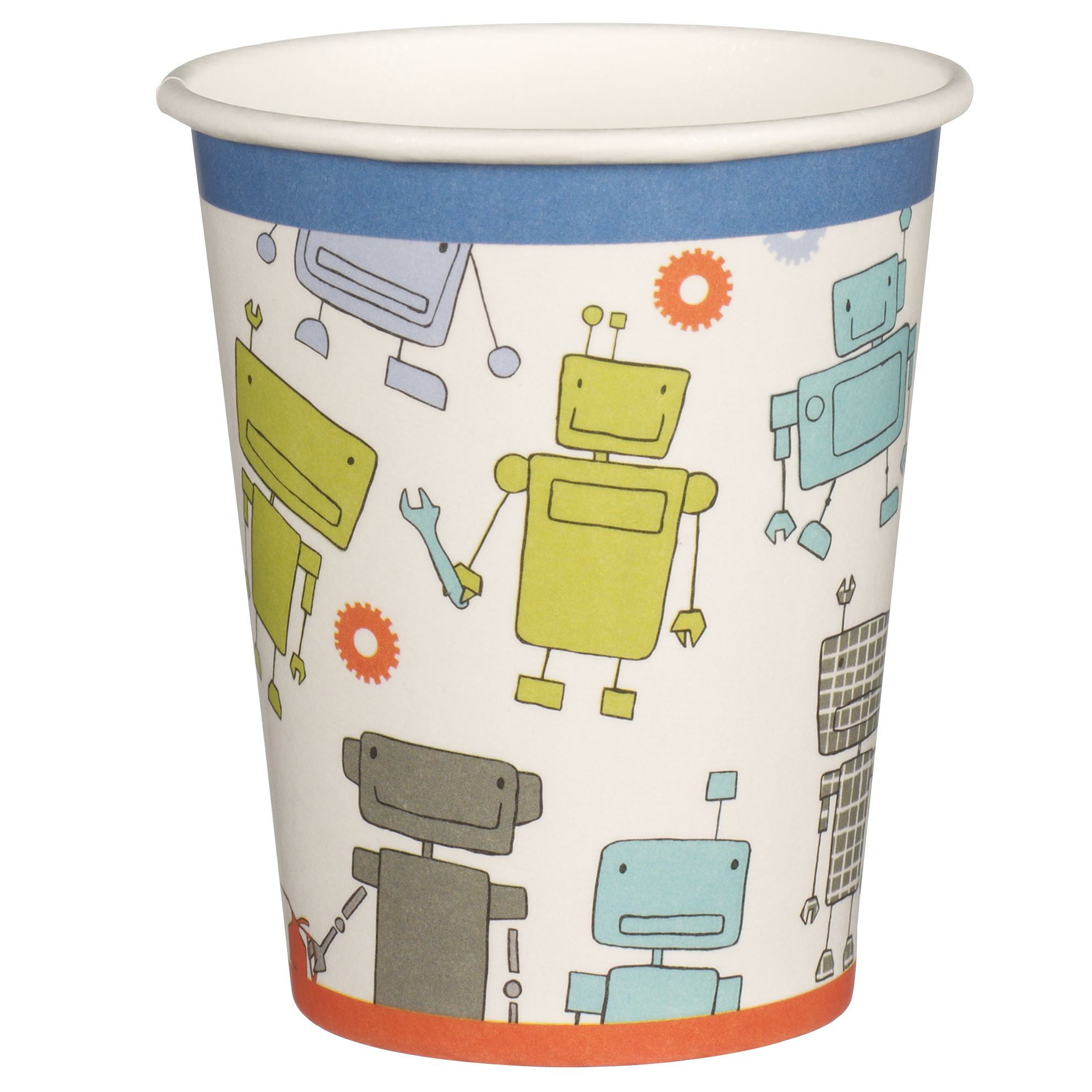 little home at John Lewis, Robots and Rivets, Paper Cups, Pack of 8