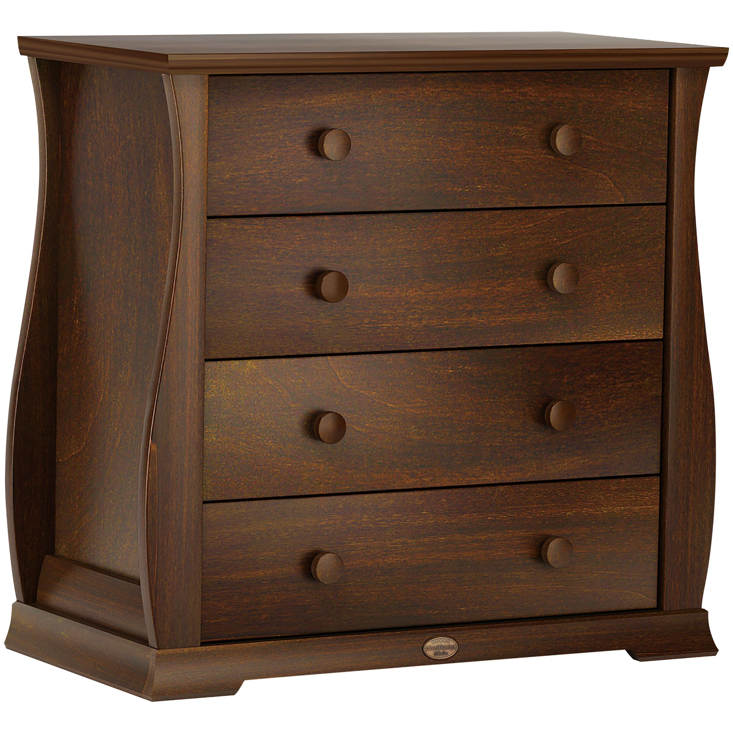Sleigh 4 Drawer Chest, English Oak