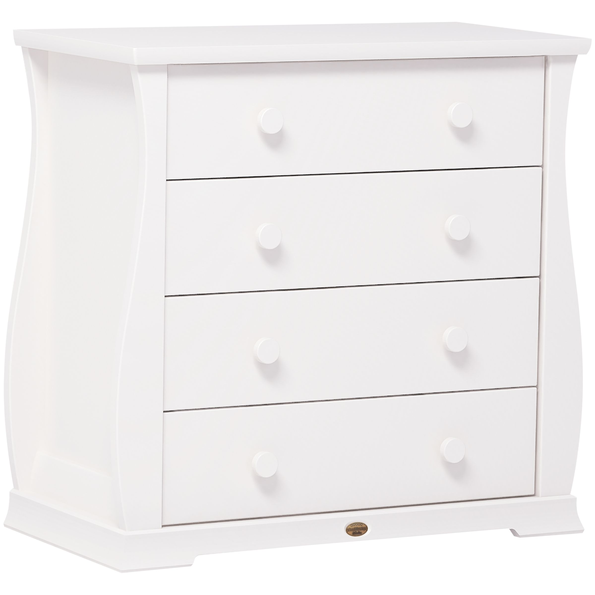 Sleigh 4 Drawer Chest, White