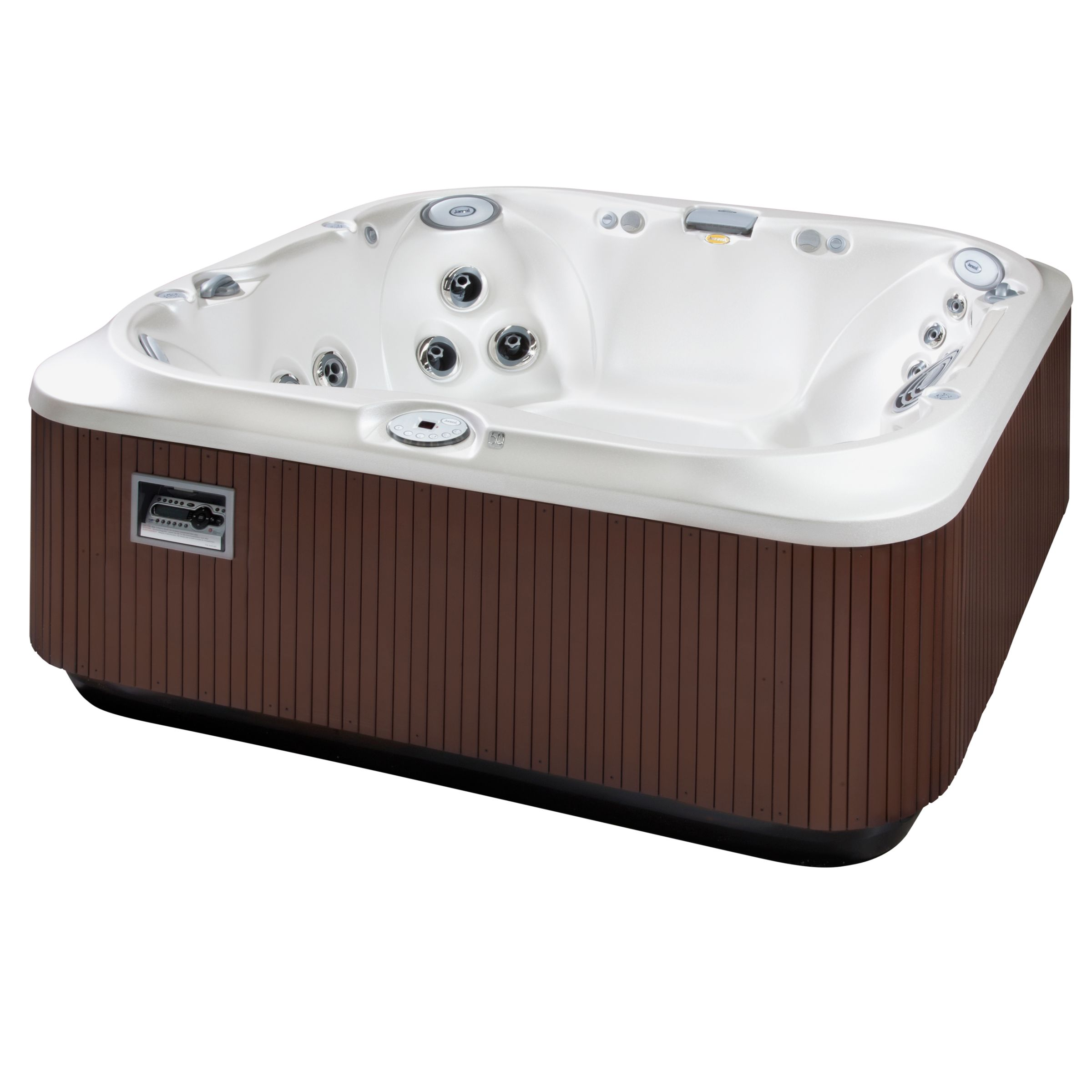 Jacuzzi UK Party Outdoor Hot Tub, Pearl Acrylic / Roast Chestnut Cabinet