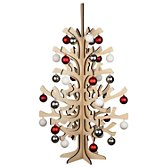 John Lewis Wooden Tree With Baubles, Red, White & Silver