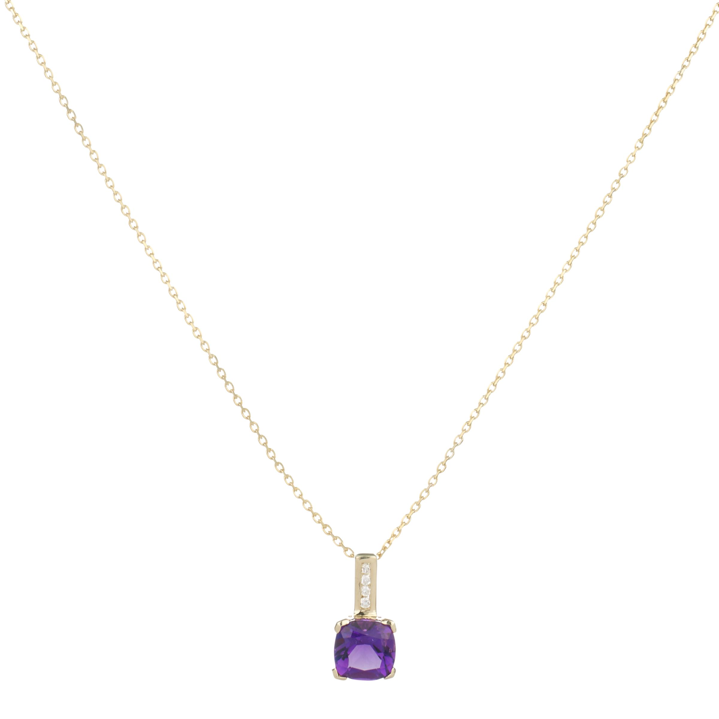 9ct Yellow Gold Cushion Cut Amethyst Diamond Pendant Necklace