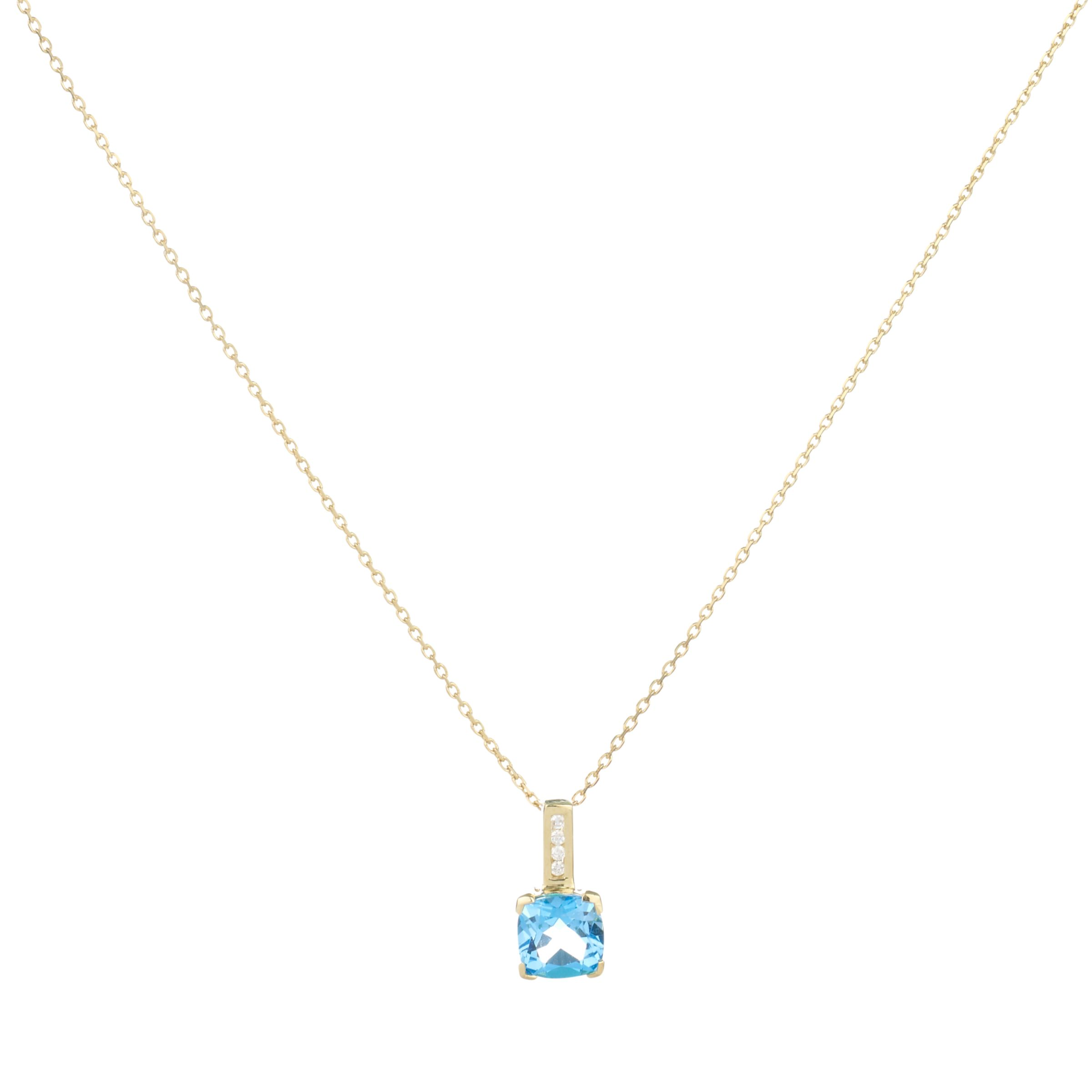 9ct Yellow Gold Cushion Cut Blue Topaz Pendant Necklace