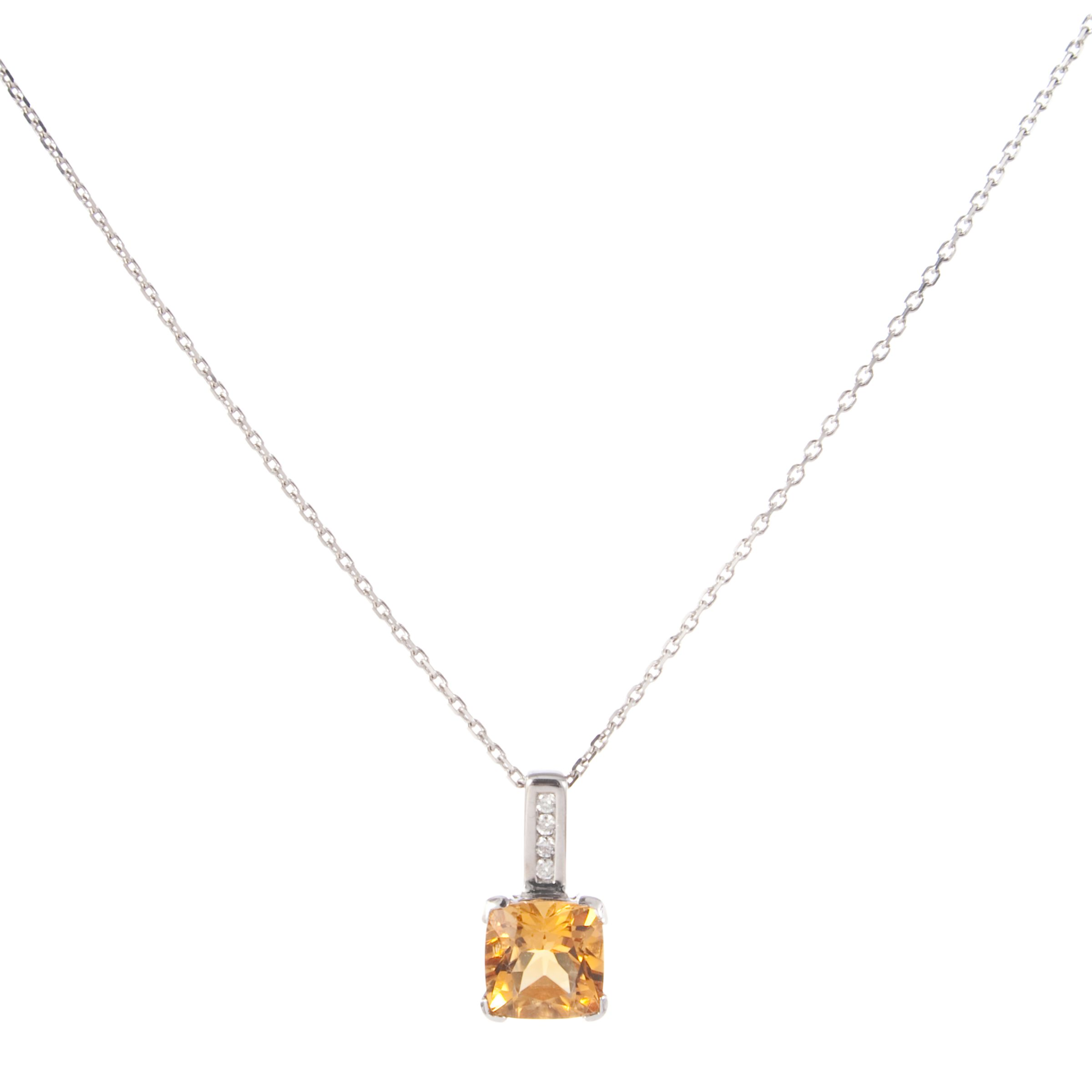 White Gold Cushion Cut Citrine Pendant with Diamond Bar Necklace