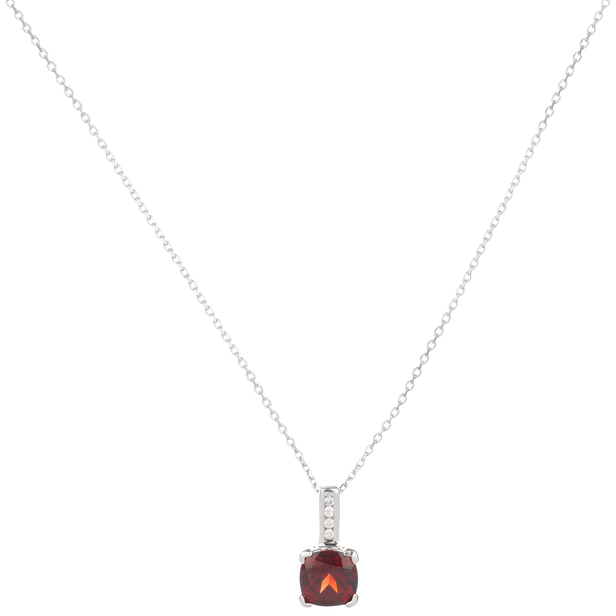 9ct White Gold Garnet Cushion Cut Diamond Pendant Necklace