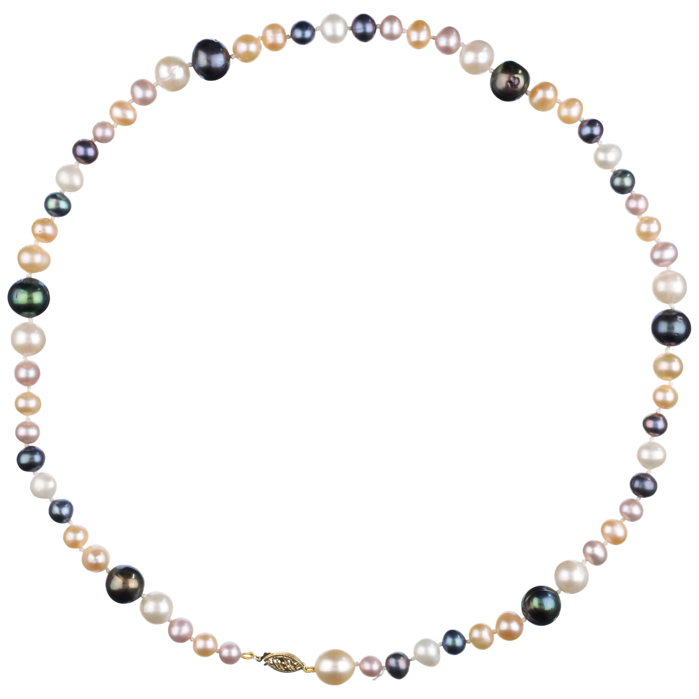 9ct Yellow Gold Pearl Necklace, Multicoloured