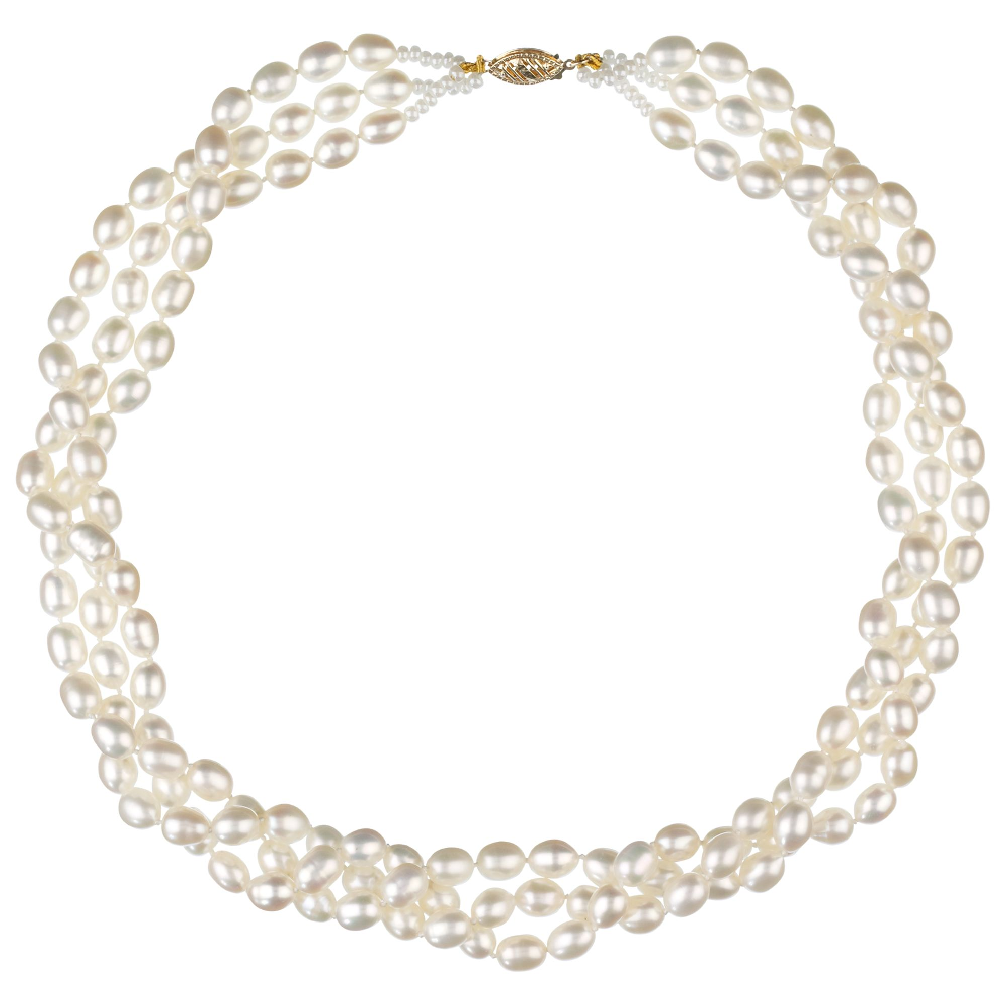 Oval Three Row Freshwater Pearl Necklace, White