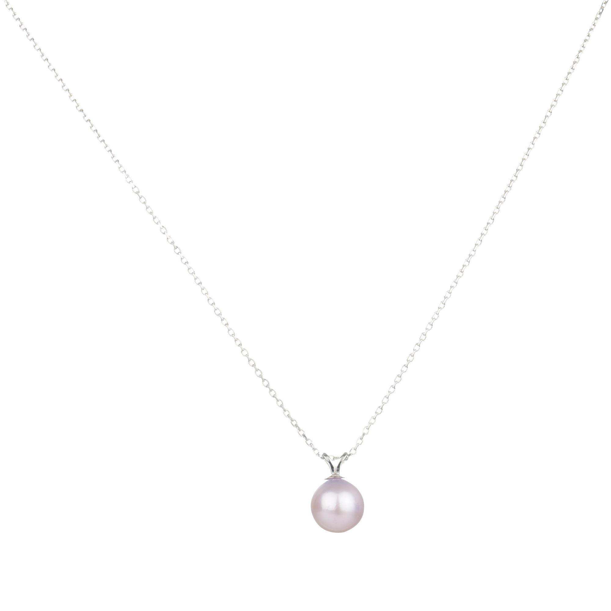 9ct White Gold Pale Purple Fresh Water Pearl Pendant Necklace