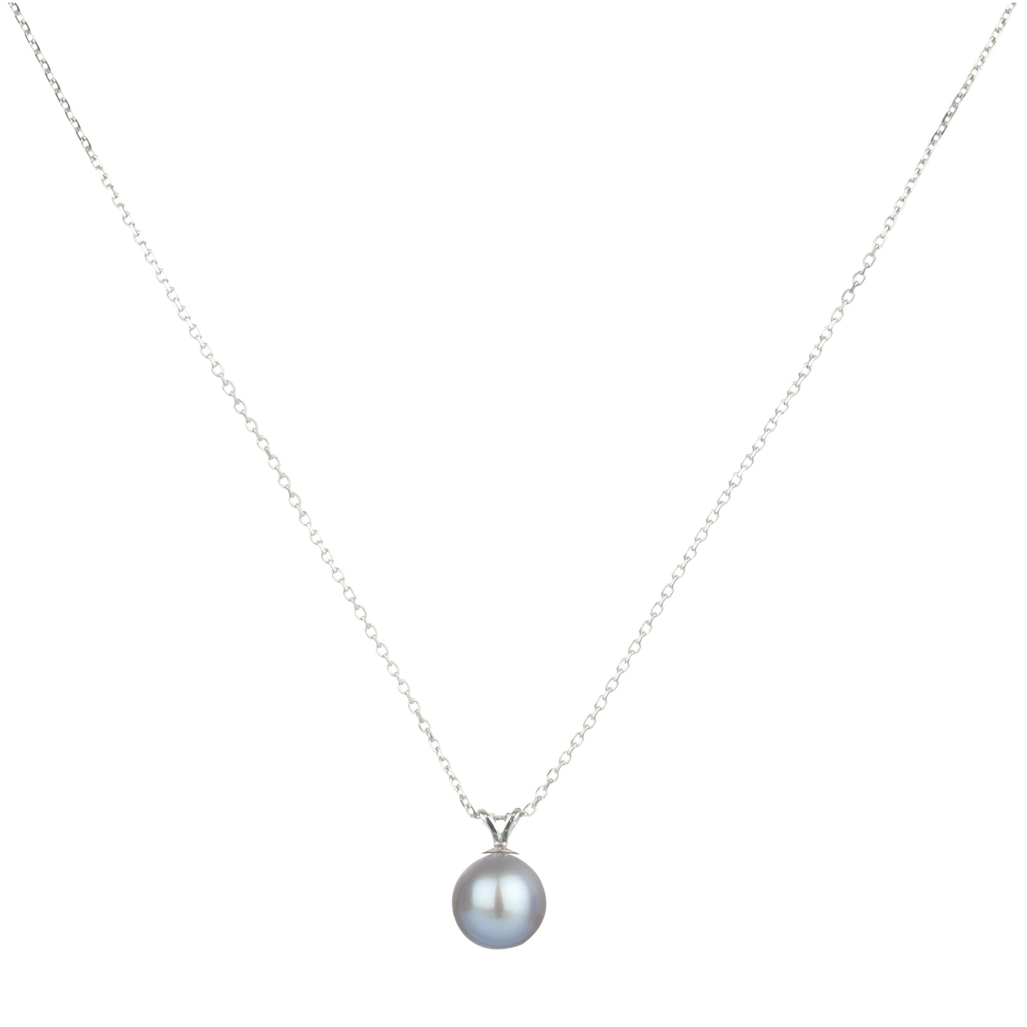 9ct White Gold Diamond Silver Grey Fresh Water Pearl Pendant Necklace