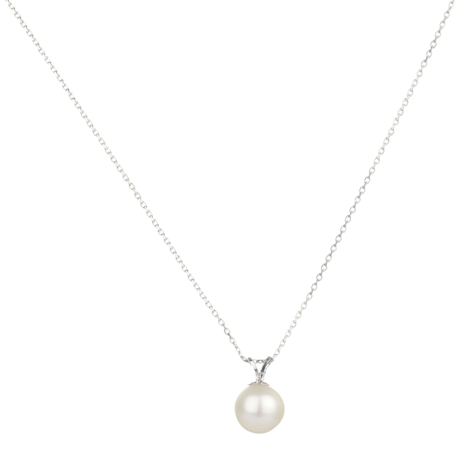 9ct White Gold White Fresh Water Pearl Pendant Necklace